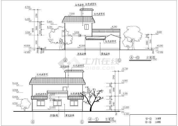 某二层农村住宅建筑设计图(长12.54米 宽11.34米)