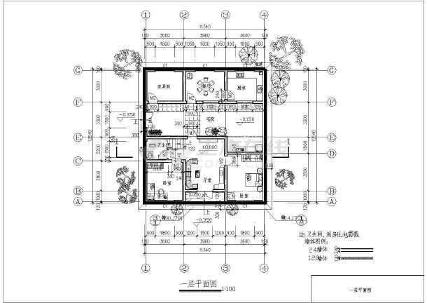 某二层农村住宅建筑设计图(长12.54米 宽11.34米)图片