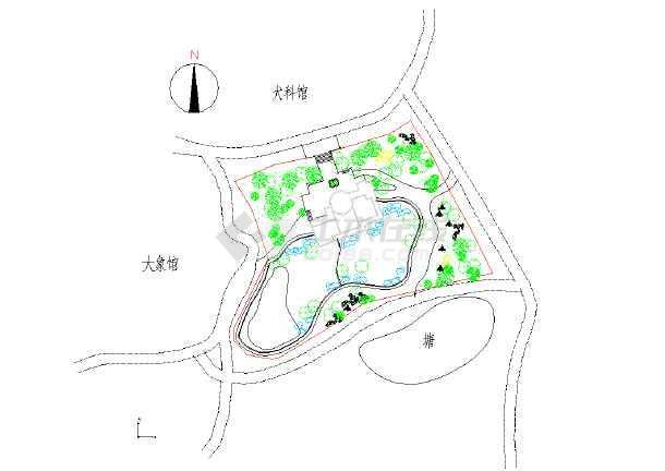 本图纸为南方某地区动物园犀牛馆详细规划图,内容包括:总平面图等内容
