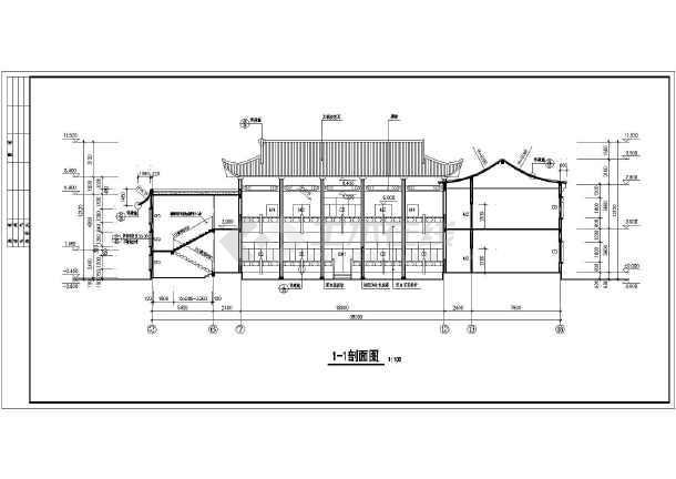 某地区一栋二层仿古建筑设计方案图纸