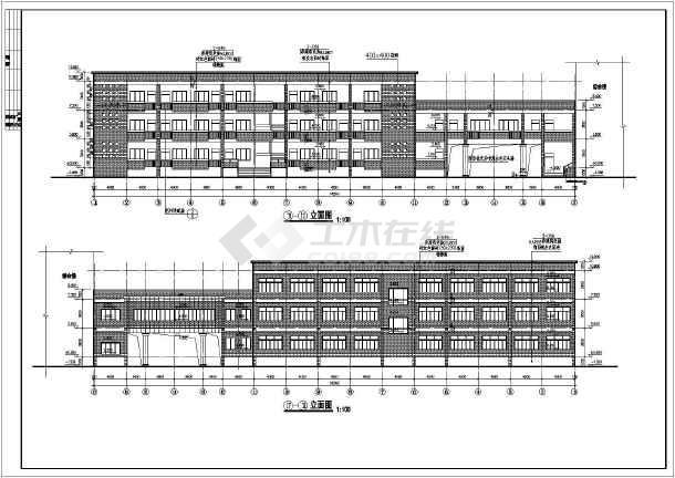 江西某地三层框架结构学校行政办公楼建筑施工图
