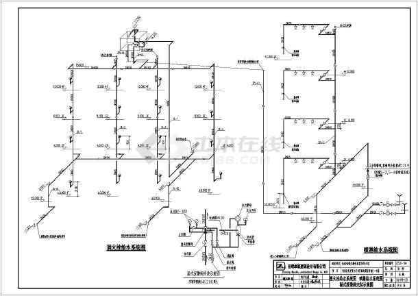 给排水平面消防给排水图自动喷淋农村商业服务建筑消防给排水v平面图纸四层多层一百十平方楼房六合无绝对图片
