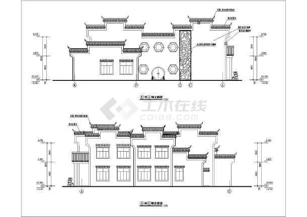结构园林式徽派办公楼建筑设计方案图纸,该图纸包括:建筑各层平面图图片
