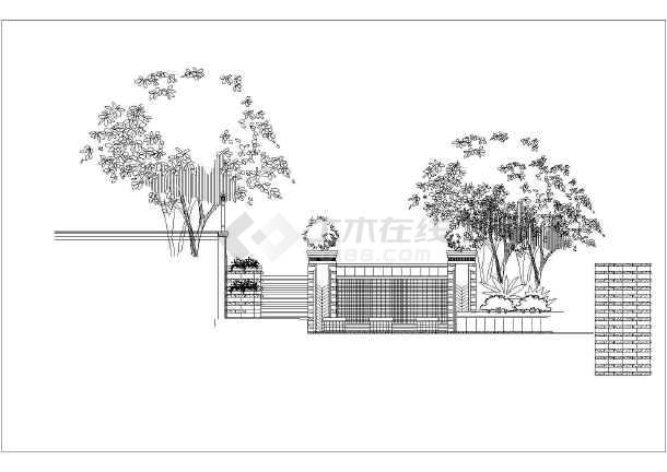 园林设计图 小品及配套设施 水景喷泉设计图 某小区中心景观跌水景墙