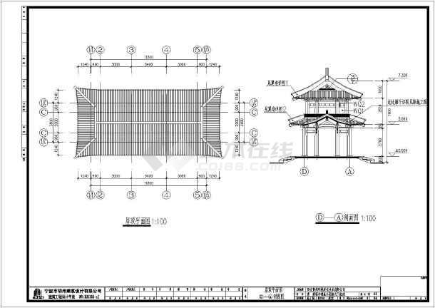 结构寺院古建大门施工, 该图纸包括:建筑设计说明,建筑平面图,屋顶