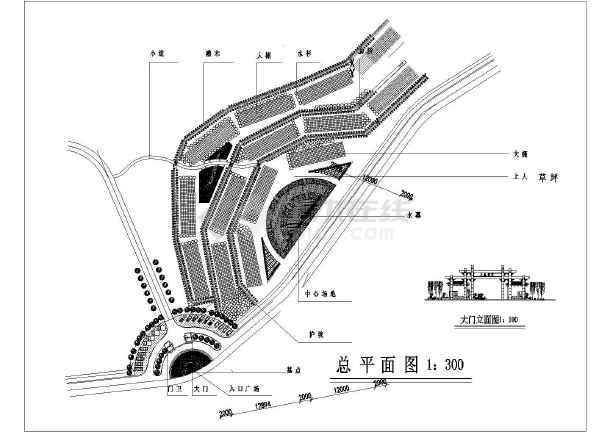 某公园入口节点设计平面图及大门立面图