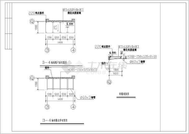 江苏某学校钢结构变截面h型钢玻璃雨棚图纸