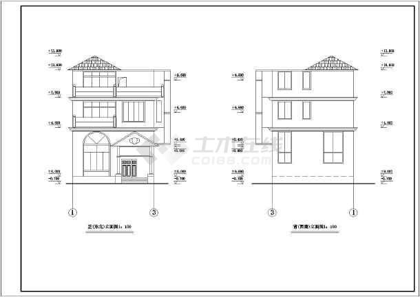 某地新型三层图纸图纸建筑设计农村暖暖房屋飞天裙图片