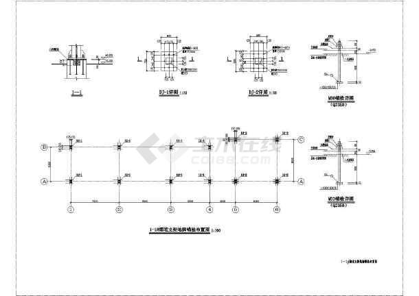 某地区钢烟道支架结构设计施工图纸