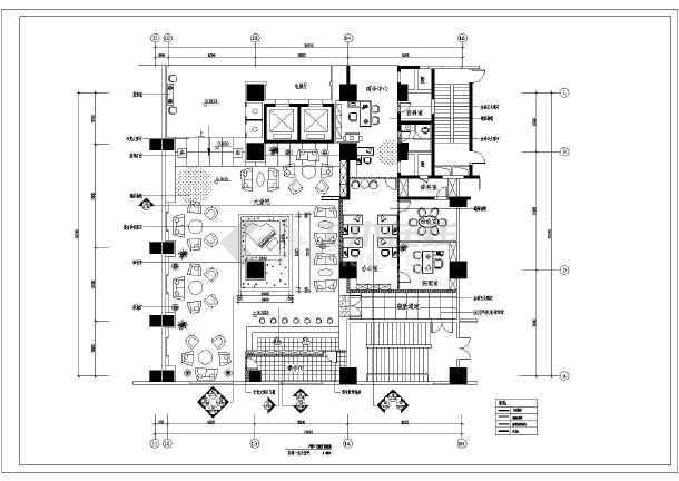 某宾馆一层大堂装修设计cad图纸