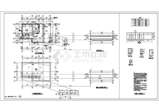 某工厂一层砖混结构主大门,侧大门建筑设计方案图纸