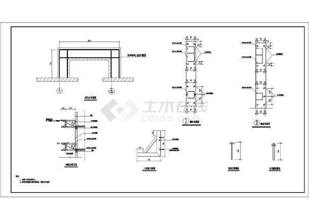 砖混旧房阳台栏板高度新增600外挑平台钢结构施工图