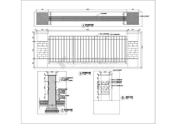 某工业园区特色围墙方案设计施工图,图纸含有平面图,立面图,剖面图及图片