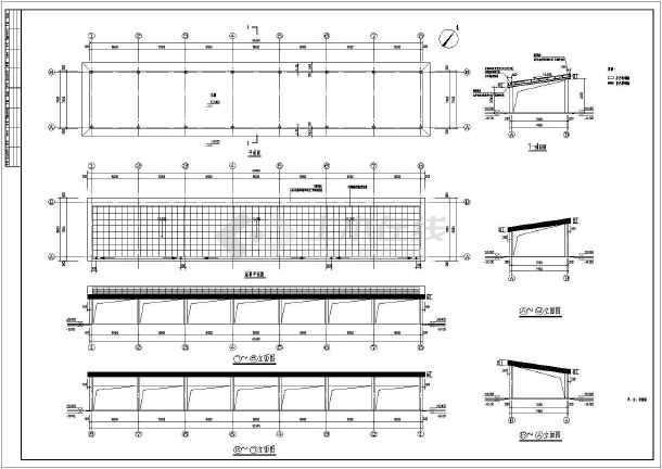 门式刚架轻型房屋钢结构太阳能车棚施工图