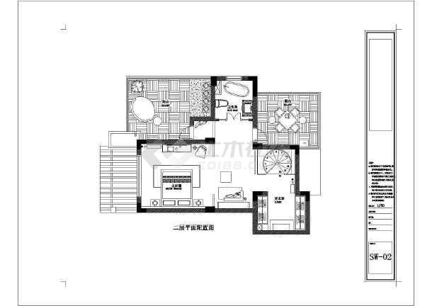 两层别墅设计图_两层图纸设计图cad标志下载喷别墅建筑图纸淋卫生间中图片