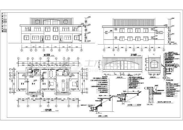 山东两层砖混结构村镇双拼住宅建筑结构设计施工图