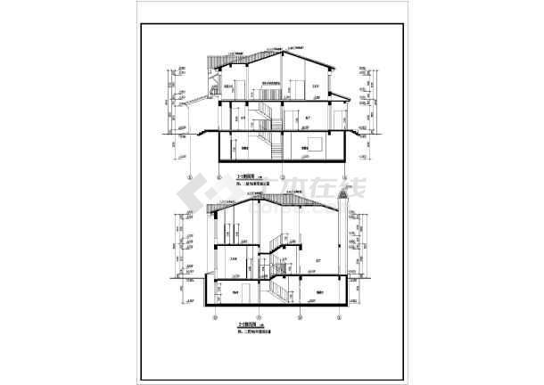 某别墅施工图,两层框架结构,图纸包括:建筑说明,各层平面图,立面图