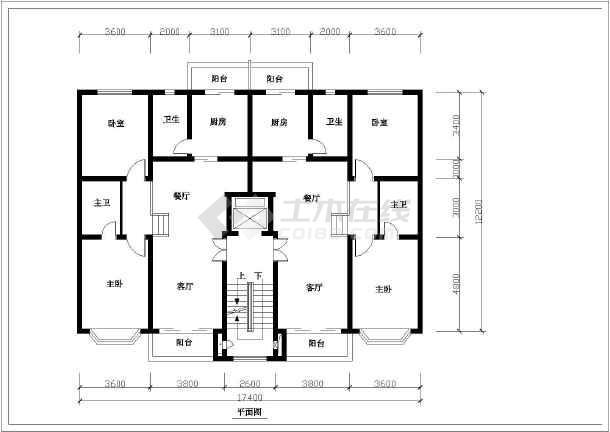 某地多层住宅户型建筑平面图