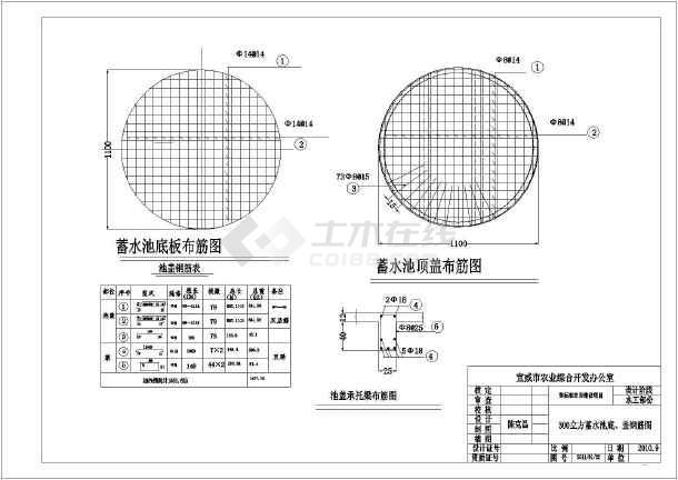 型号300立方农业池壁水池水利v型号设计图_ca配筋格图纸旋转接头图片
