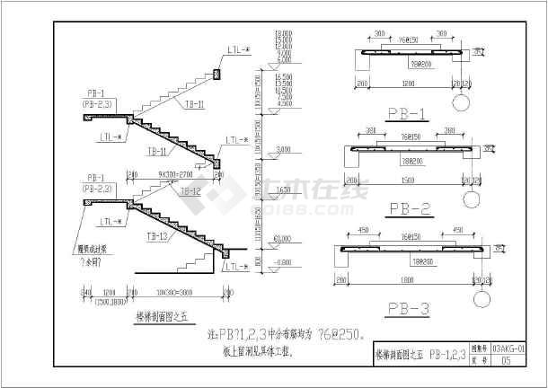 安康市建筑设计研究院结构通用图板式楼梯(住宅)-03akg-01