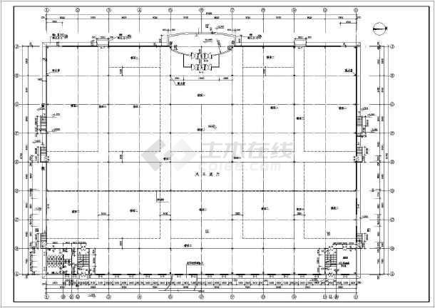 某单层带夹层轻钢结构汽车展厅建筑设计方案图