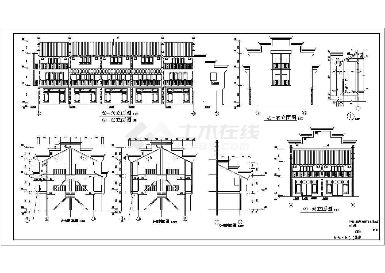 某地区3层徽派别墅建筑设计方案图