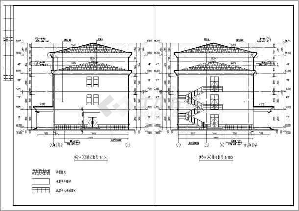 院三层办公楼建筑设计施工图,为框架结构,图纸主要包括:各层平面图