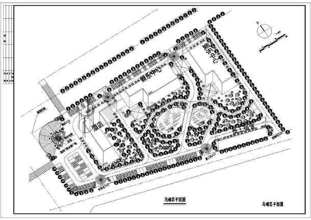 某地河源大酒店建筑平面总图设计(1张)图片1