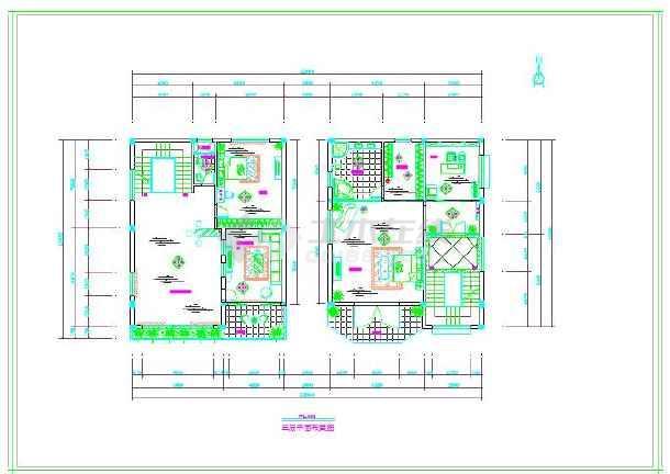 海景花园别墅全套装修设计cad施工图 别墅装修