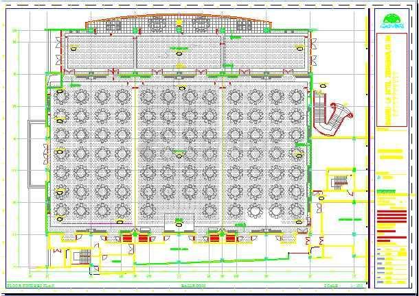 酒店宴会厅室内装修设计施工图,包括:图纸目录,施工说明,平面尺寸图