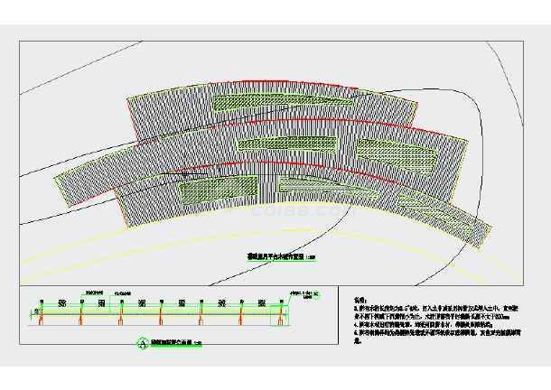 一个异形木平台及中式木栅栏的详细设计施工图