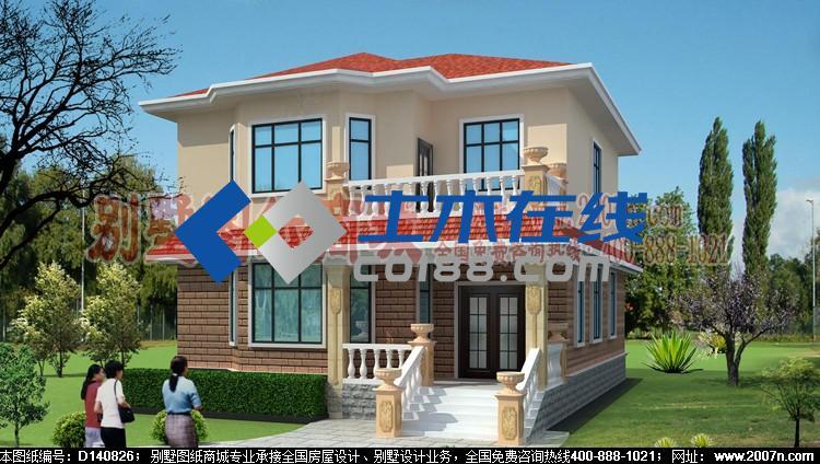 占地254平方米二层砖混别墅设计图购买-土木在线