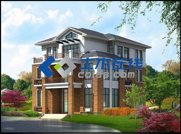 占地130平方农村自建房三层房屋设计图及效果图购买 土木在线图片