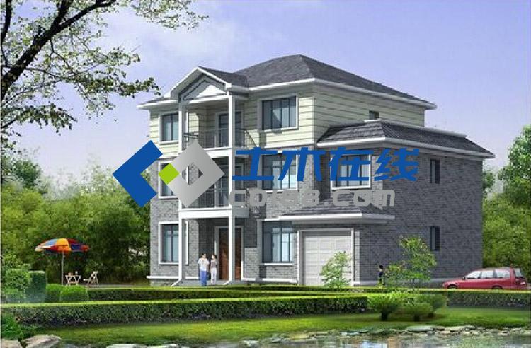 平方米现代风格别墅设计图及效果图购买 土木在线
