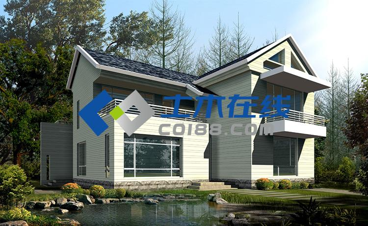 27平方米二层别墅设计图带效果图购买 土木在线