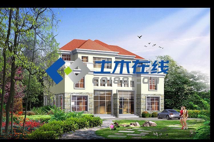 占地667平方米农村三层双拼别墅设计图带效果图购买 土木在线