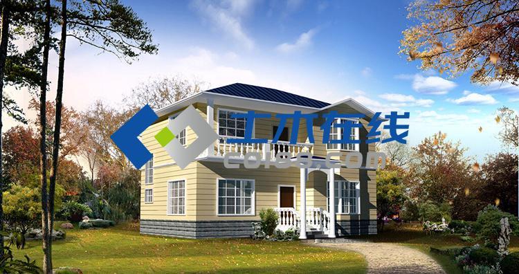 占地205.7平方米二层带坡顶别墅设计图带效果图
