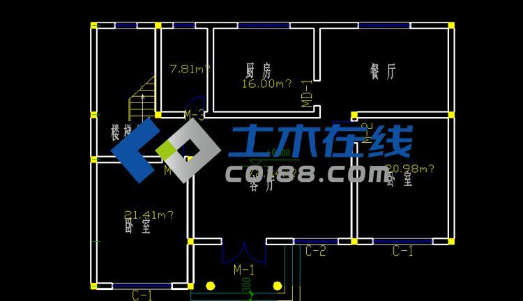 米二层别墅设计户型图带效果图购买 土木在线