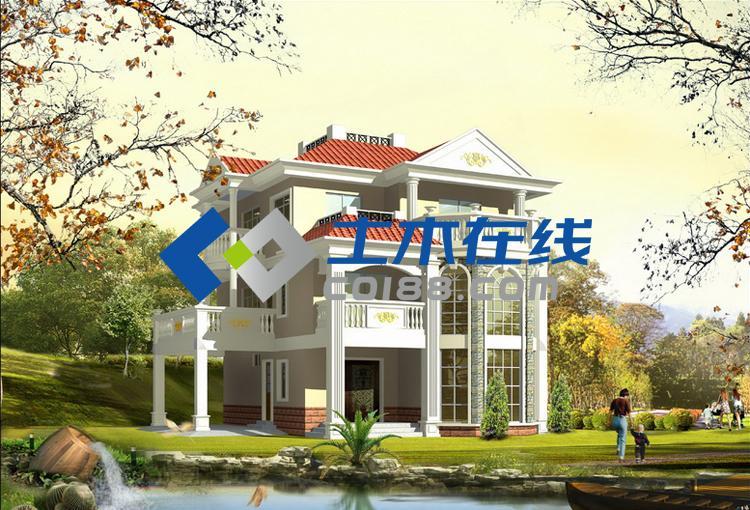 占地366平方米框架结构三层带车库欧式别墅施工图带效果图图片