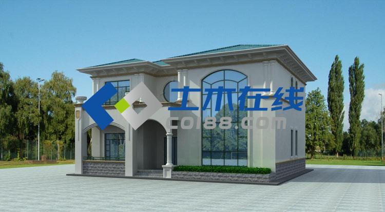 漂亮实用型二层带阳台农村别墅效果图及施工图 别墅设计图,别墅图纸高清图片