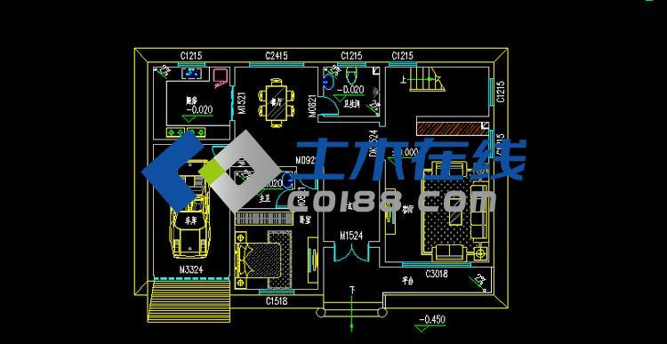 新农村建设二层别墅设计施工图15.5X10m 二层房屋正立面图-占地268
