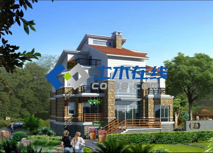 纸质别墅图纸  占地573平方米三层框架结构别墅施工图  农村简单大方
