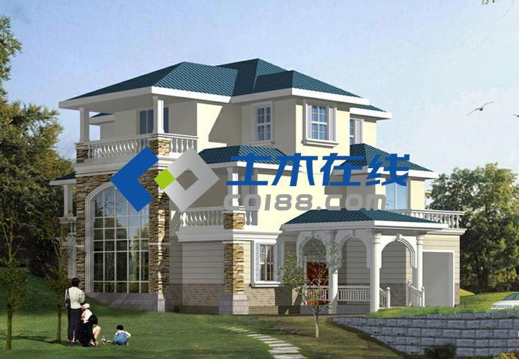 占地362平方米独栋欧式三层别墅设计图带效果图