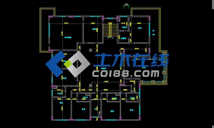 三层梁配筋平面图,四层板配筋平面图,四层梁配筋平面图,坡屋面结构