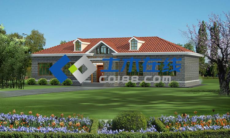 建筑图纸  别墅图纸  纸质别墅图纸  占地266平方米一层平房带坡顶