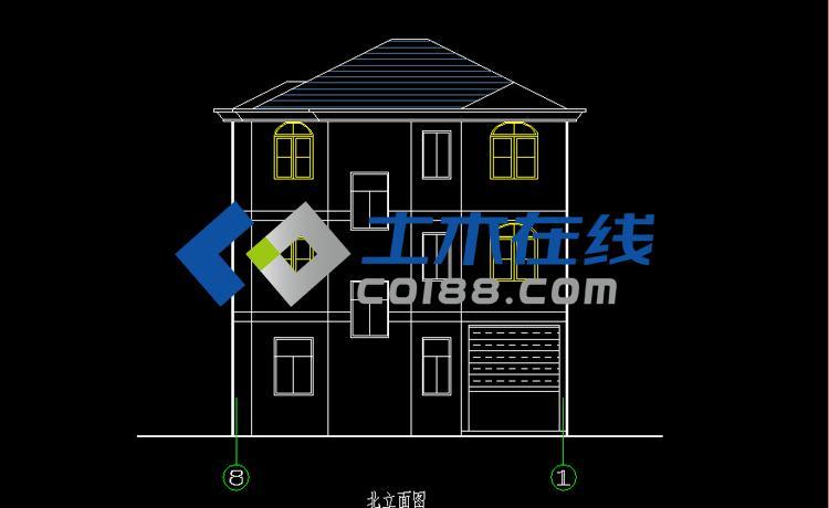 简单造型100平米三层农村房屋设计图及效果图_别墅图纸商城 10*10米