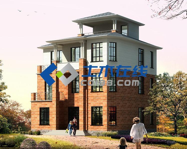 占地120平米三层半框架结构别墅设计图  120平米三层半农村房屋设计