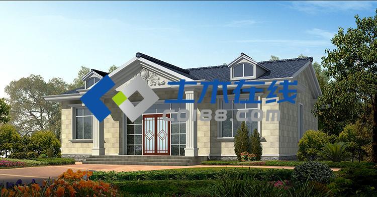 農村自建房平房帶坡屋頂頂層房屋效果圖 一層13.8*11米