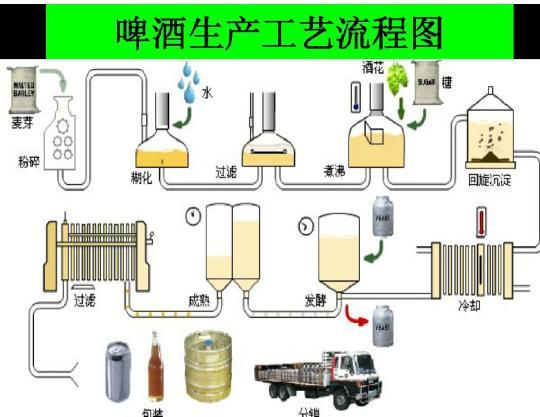 啤酒生产工艺流程图