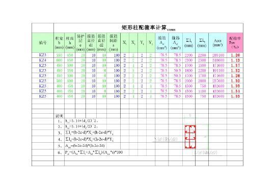 框架柱配箍率计算复核excel表格